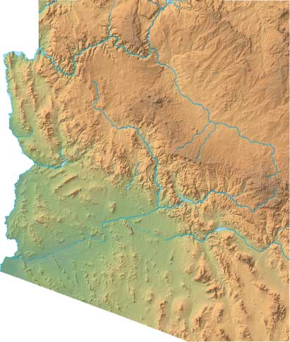 Interactive Map Of Arizona.Arizona Relief Map