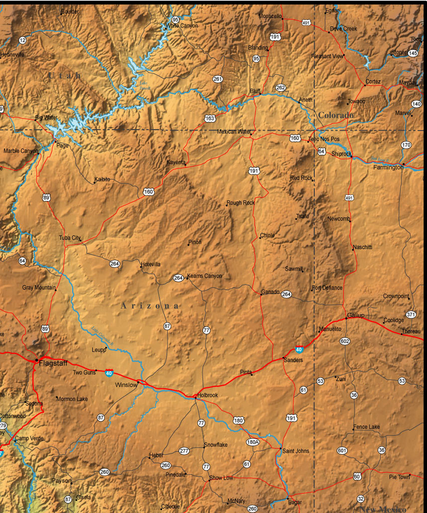 Map Of Arizona And The Surrounding Region